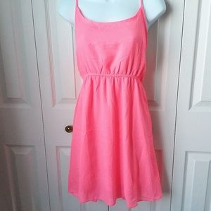 Neon Pink halter mini dress